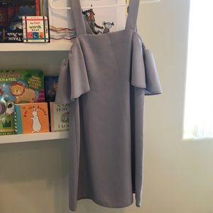 Topshop greyish blue off shoulder dress